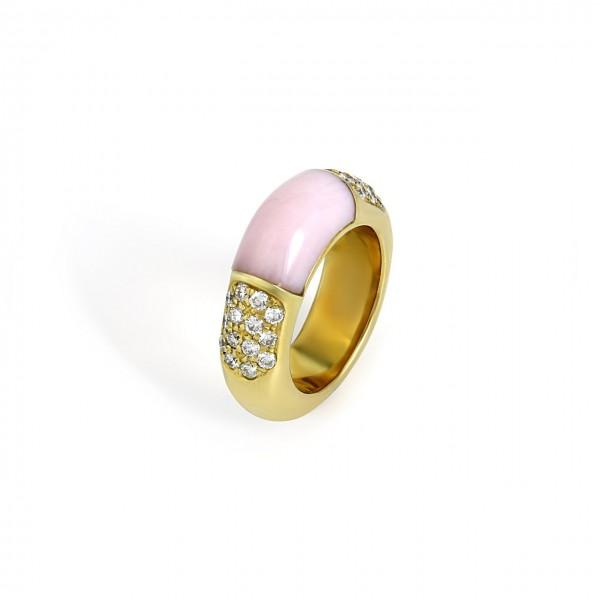 Heyder Exclusiv Damenring Opal rosa aus 750/- Gelbgold