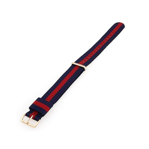 Faber Natoarmband - Textilarmband blau-rot-blau 18 mm