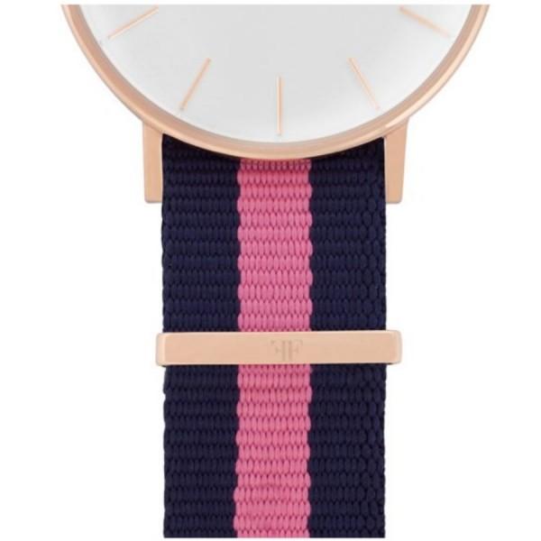 Faber Natoarmband-Textilarmband blau-rosa 18 mm FS107RG