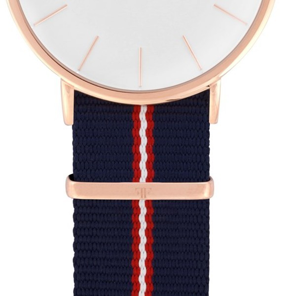 Faber Natoarmband - Textilarmband blau-rot-weiß 20 mm