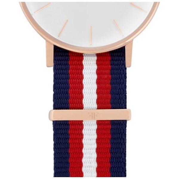 Faber Natoarmband-Textilarmband blau-rot-weiß 18 mm FS106RG