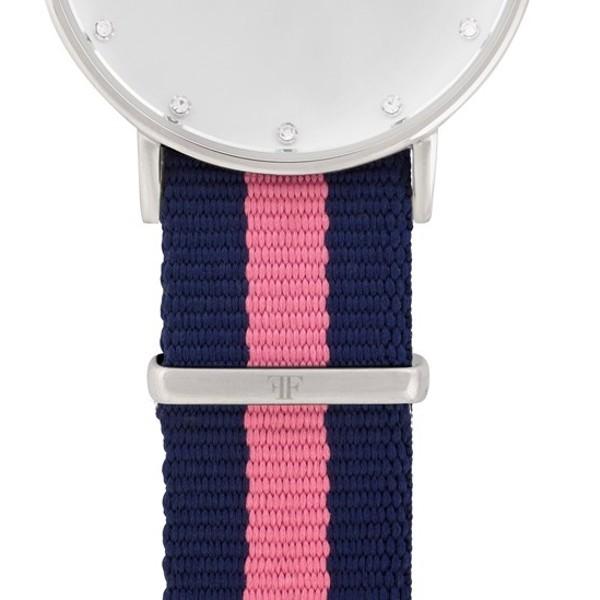 Faber Natoarmband-Textilarmband blau-rosa 18 mm FS404SL