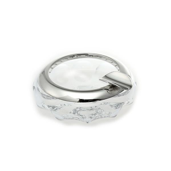 Aschenbecher aus Kristallglas mit Silberrand