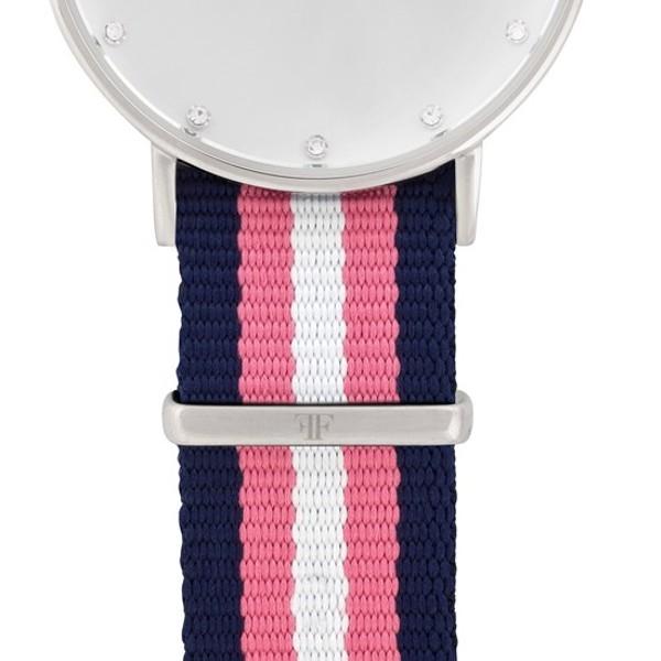 Faber Natoarmband-Textilarmband blau-rosa-weiß 18 mm FS406SL