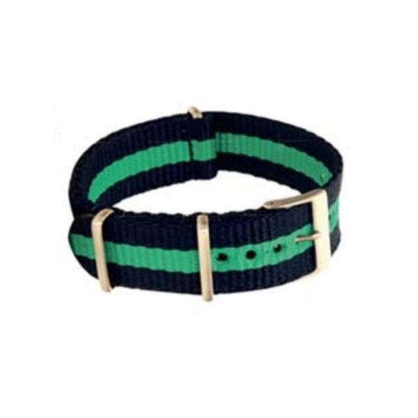Textilarmband Nato-Style - Uhrenarmband dunkelblau-grün