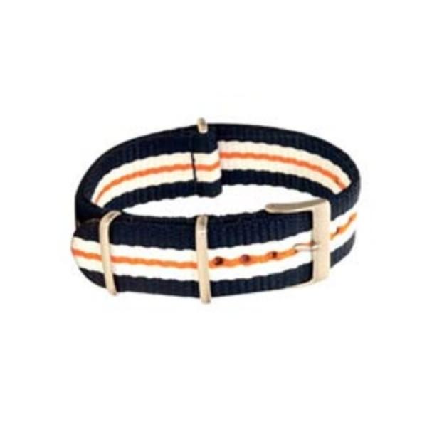 Textilarmband Nato-Style - Uhrenarmband blau-weiß-orange