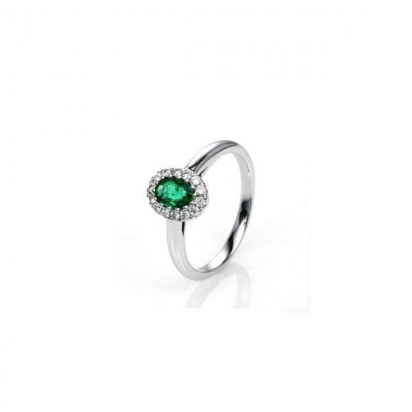 Heyder Exclusiv Damenring Smaragd grün 750/-WG