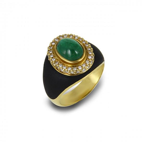 Heyder Exclusiv Damenring Smaragd 750-er Gelbgold