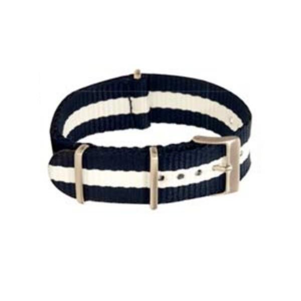 Textilarmband Nato-Style - Uhrenarmband dunkelblau-weiß