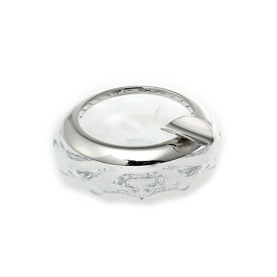 Heyder-Exclusiv Aschenbecher aus Kristallglas mit Silberrand