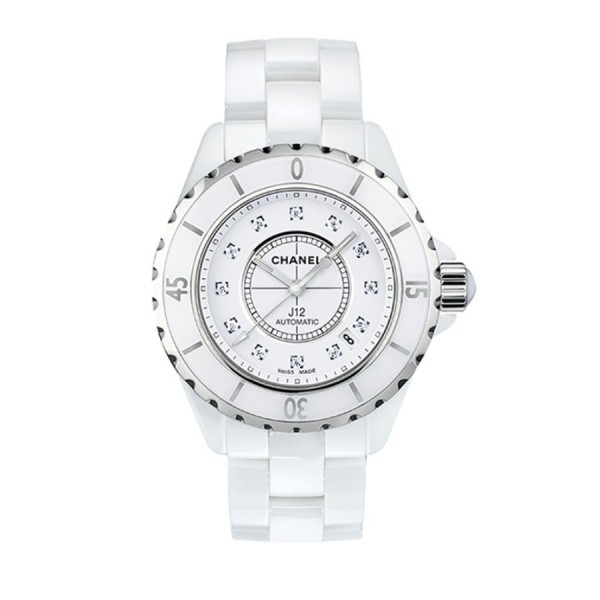 CHANEL J12 WEISS DIAMANT AUTO 38 MM H1629